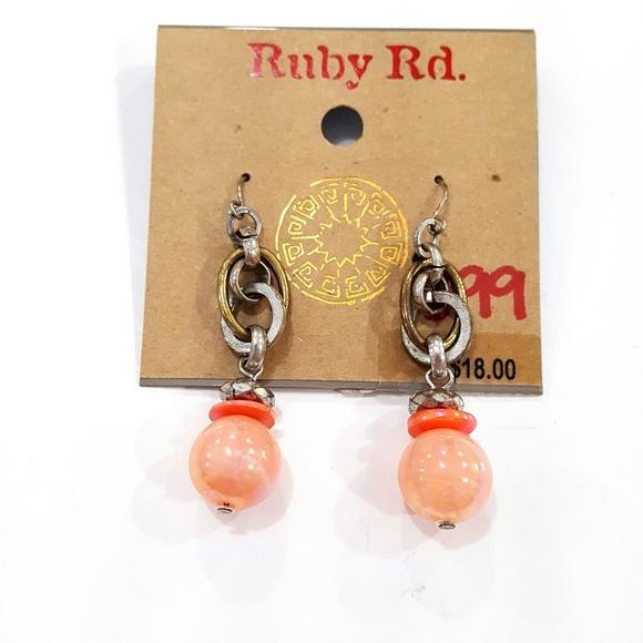 Ruby Rd. Jewelry - NWT Ruby Rd. Beaded Dangle Shiny Pink Earrings